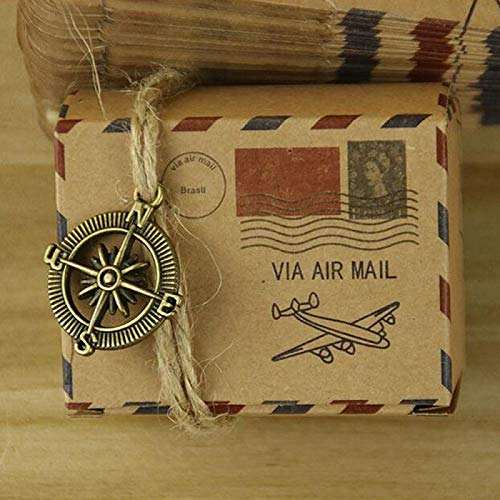 KathShop 50pcs Candy Box Gifts Bag Stamp Design Wedding Vintage Packaging Kraft Paper Gift Box for Guests Wedding Favors Party Supplies