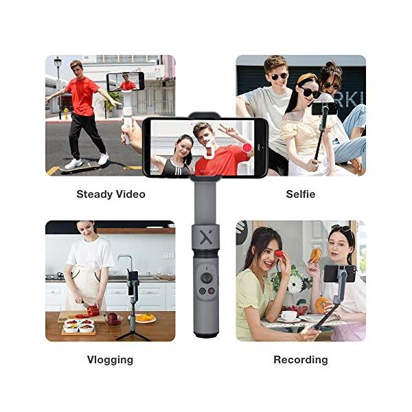 ZHIYUN Smooth-X (Ufficiale) Smartphone Pieghevole Stabilizzatore del Giunto Cardanico Stick per Selfie Vlog Youtuber (Grigio Combo) 5 spesavip