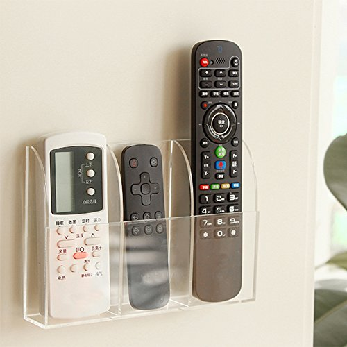 VANCORE Remote Control Holder - Acrylic Wall Mount Media Organizer Box, 3 Compartments Tv Wall Cabinet