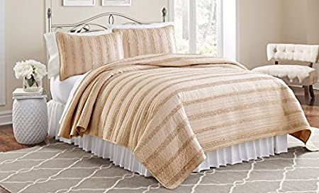 Amrapur Overseas 3MFRFWVG-TPE-TN 2 pc Ruffled Quilt Sets- Waves Taupe Twin