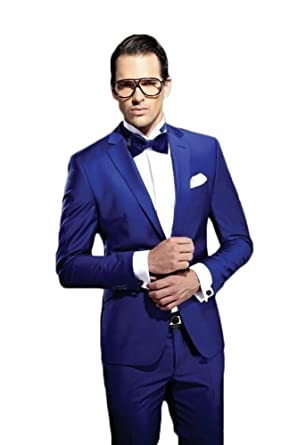 AK Beauty Men's 2 Piece Royal Blue Business Formal Suit Jacket ...