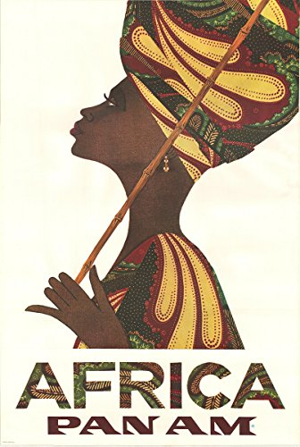 historic pictoric Pan Am Africa Woman 1970 | 24in x 16in Vintage African Poster Print