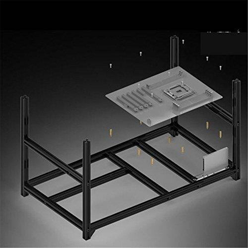 6 GPU Miner Case Aluminum Stackable Mining Case Rig Open Air Frame For Ethereum(ETH)/ETC/ ZCash/Monero/BTC Excellent air convection design (6GPU-NEW)