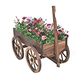Wagon Flower Pot, Wooden, Premium Quality, Brown Color, Stylish Design, Vintage Look, Ideal Outdoor Spaces, Easy Assembly, Sturdy Durable Construction & E-Book