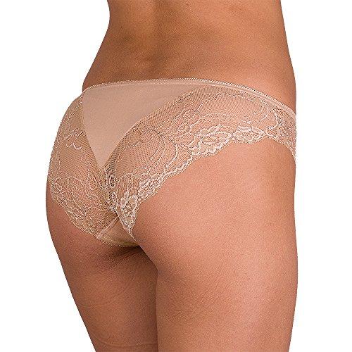 Lace Trimmed Bikini Panties (CFB 023 0201 Women's Best Seller Sexy Soft Cotton Lace-Trim Underwear Bikini Briefs Panty, XL/12 Beige 3)