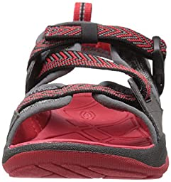 KEEN Rock Iguana Sandal (Little Kid/Big Kid), Magnet/Racing Red, 4 M US Big Kid