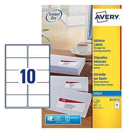 Avery J8163-25 - Etiquetas imprimibles para direcciones (250 etiquetas, 10 por hoja