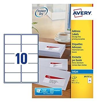 avery j8173 25 self adhesive address mailing labels 10 labels per