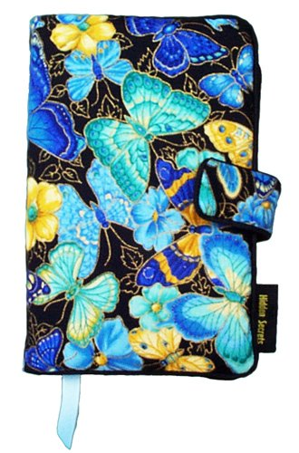 Fabric Book Covers Office Depot : Standard paperback novel size blue butterflies pattern