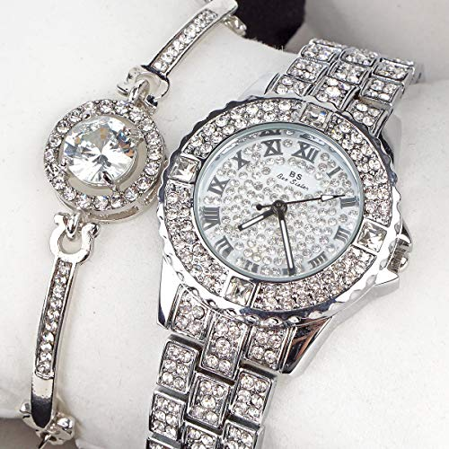 Luxury Quartz Crystal Watch Round Dial Bling Classic Charm Ladies Wrist Watches and Bracelet Set
