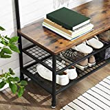 VASAGLE Industrial Coat Rack Storage Bench, Pipe