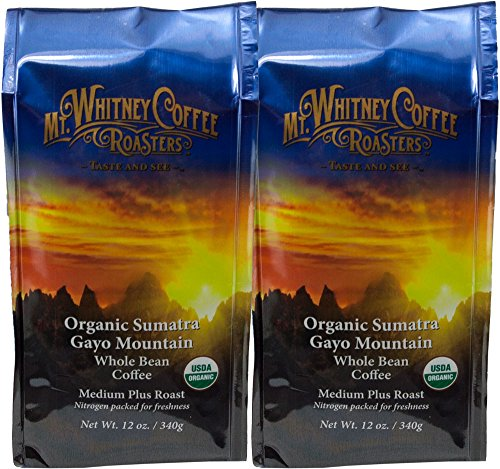 (Mt. Whitney Coffee Roasters, Organic Sumatra Gayo Mountain, Whole Bean Coffee, 12 Ounce, 2 Count)