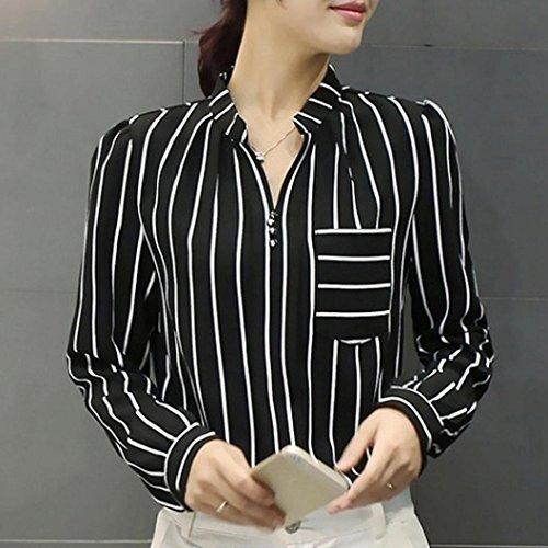 Bouton T Casual Longues Profond Blouses Automne Ray Mode Nouveau Manches Bureau Cou Shirt zahuihuiM Femmes V Noir Printemps Tops xZqOwn8X
