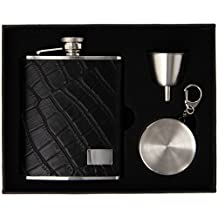"Visol ""Beau Monde"" Black Leather and Crocodile Finish Stellar Flask Gift Set, 6-Ounce"