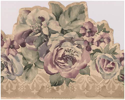 Purple Flowers Vintage Floral Wallpaper Border Retro Design, Roll 15' x 6.5''