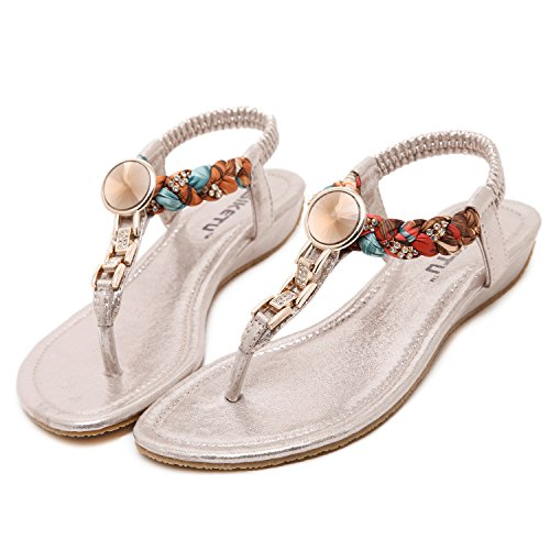 DQQ Femme Exotique Strass Plat Sandale - Or - 2,
