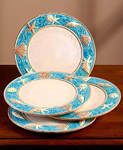 Coastal Cottage Dinnerware Dinner Plate Set of 4 Seashell Border Beach Dish & Amazon.com : Coastal Cottage Dinnerware Dinner Plate Set of 4 ...