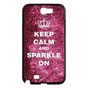 luckhappy123 Keep Calm Sparkle on Black Plastic case for Samsung Galaxy Note 2 N7100