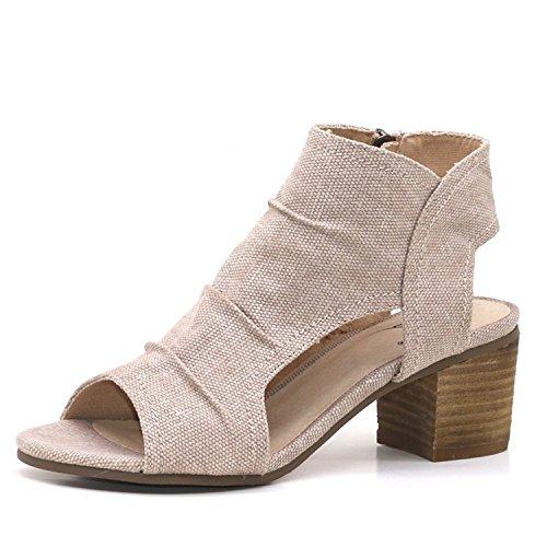 NeeKer Shoes Women Sandals Summer Genuine Leather Heels Open Toe Women's Sandals Low Block Heel 5.5CM Woman Shoes Sexy Back Strappy Nude 7 ()