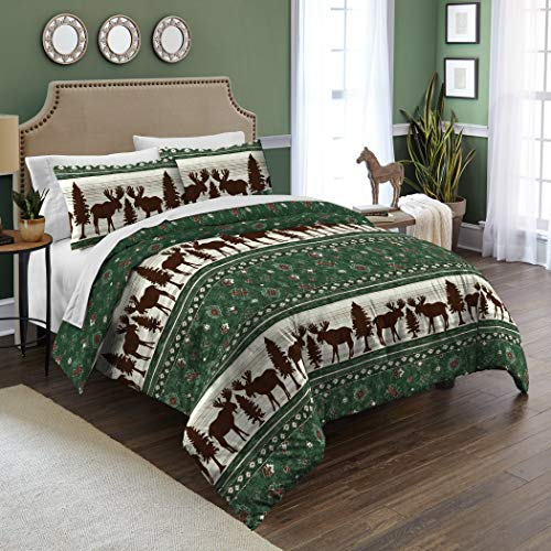 - 2 Piece Green Brown White Lodge Cabin Moose Themed Comforter Twin Set, Silhouette Spruce Tree Wild Animal Hunting Bedding, All Over Christmas Inspired Motif Horizontal Stripe Design, Polyester