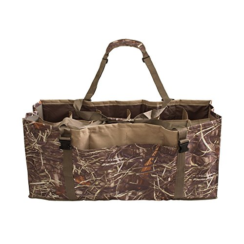 UNISTRENGH 12 Slot Duck Decoy Bag with Padded Adjustable Shoulder Strap Water Dirt Drain System Slotted Decoy Bags to Protect Duck Decoys (Reed Camo)