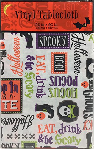 Halloween Holiday Phrases Flannel Backed Vinyl Tablecloth: Fun Cute Sayings with Icon Pictures of Skulls and Webs on White (52
