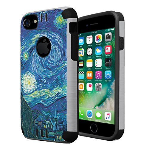 iPhone 8 Case, Capsule-Case Hybrid Dual Layer Slim Defender Armor Combat Case (Silver & Black) Brush Texture Finishing for iPhone 8 - (Starry ()