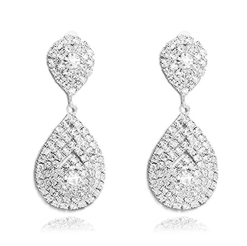 Yumei Jewelry Rhinestone Stretch Earring Silver-tone Wedding Earrings Sparkling Bridal (Silver Tone Rhinestone Earrings)