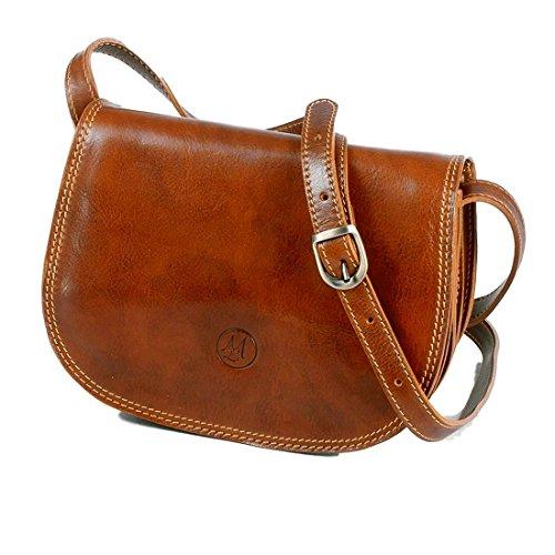MICHELANGELO Piel genuina, piel de becerro, hecha a mano, Italia - Vintage bolso mediano, en Cuero 26x7.5 H19 cm (Negro) Cognac