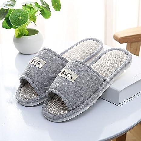 DogHaccd Chaussons ,Accueil chaussons d'été accueil antidérapant à l'intérieur des couples lin épais chaussons chaussons femme du refroidisseur de sol en bois de l'été