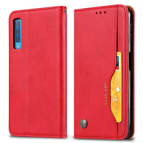 Mobile Phone Case Cover - Buluby Flip Case for Samsung Galaxy A50, Premium PU Leather Wallet Cell Phone Case Cover, Kickstand with Credit Card Holder Phone Case (Red)