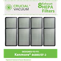 8 Replacements for Kenmore EF2 HEPA Style Filter Fits Progressive & Intuition, Compatible With Part # 86880, 20-86880 & 40320, by Think Crucial