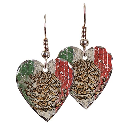 (Earring Heart Charm Mexican Flag Mexico Grunge)