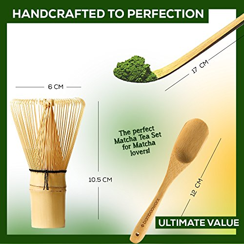 BAMBOOWORX Japanese Tea Set, Matcha Whisk (Chasen), Traditional Scoop (Chashaku), Tea Spoon, The Perfect Set to Prepare a Traditional Cup of Matcha. by BAMBOOWORX (Image #3)