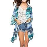 VIASA Women National Wind Print Cover Fashion Sexy Blouse Tops Bikini Swimwear Beach Swimsuit Smock (S, Blue)