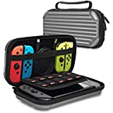 Lammcou Carrying Case for Nintendo Switch Travel Hard Shell Pouch for Nintendo Console & Joy-Con Controller & Storage Super Smash Bros, Mario kart Party, Minecraft, Zelda & More 10 Game Cards - Gray