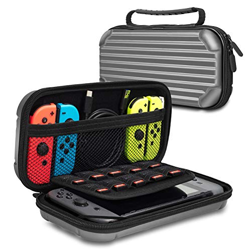 Nintendo Switch Case, Lammcou Travel Carrying Case Hard Shell Pouch for Nintendo Console & Joy-Con Controller & Storage Super Smash Bros, Mario kart Party, Minecraft, Zelda & More 10 Game Cards - Gray