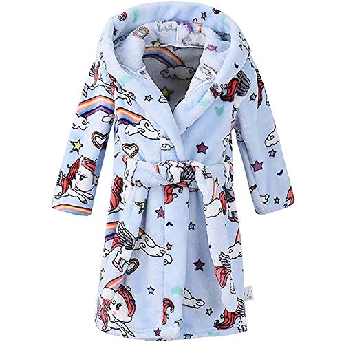 Boys Girls Bathrobes, Toddler Kids Hooded Robes Plush Soft Coral Fleece Pajamas Sleepwear for Girls Boys (Cartoon Blue, US 3T/Height ()