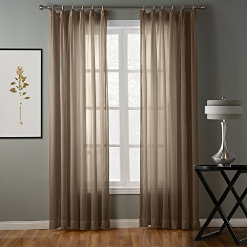 Pinch Pleated Drapery Panels (ChadMade Hollow Herringbone Polyester Pinch Pleated Top Solid Sheer Curtains Drapery (1 Panel) - 84Wx84L Inch - Sepia, Size and Heading Customizable)