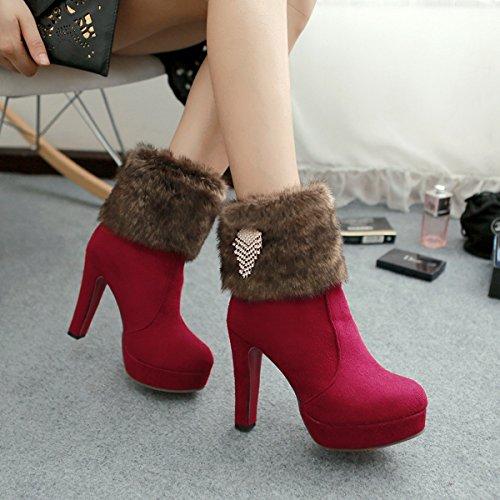 YE Damen Winter High Heels Plateau Warme Stiefeletten Wildleder mit Roter Sohle Blockabsatz Strass Fell Short Ankle Boots Schuhe Weinrot