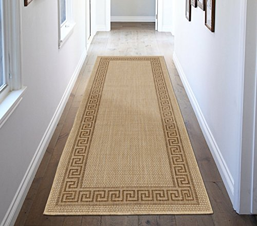 Border Jute Rug (Ottomanson Jardin Collection Natural Greek Bordered Design Indoor/Outdoor Jute Backing Area Rv Patio Mat Rug,)