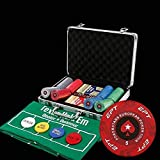 Poker Set EPT Poker Chip Set for Texas Holdem, Blackjack, Gambling with Carrying Case, Cards, Buttons (14g Ceramic Chips) 100/200/300/500