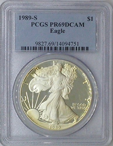 1989 S American Eagle $1 PR69 PCGS Silver Dollar Old US Coin 90% Silver