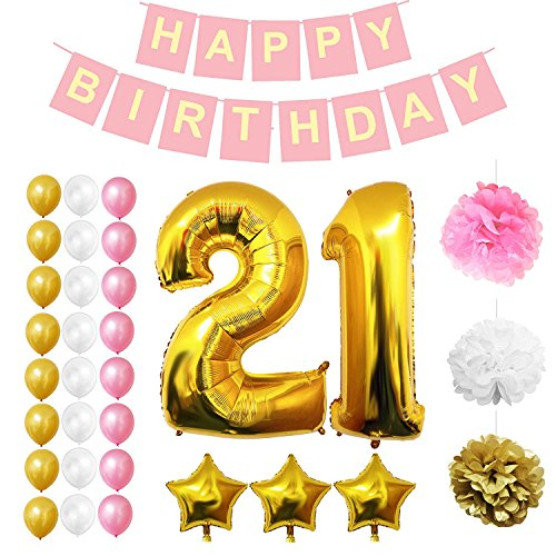 21st Birthday Decorations Party Supplies (32 Pcs)- Happy Birthday Party Banner Set 21st Years with Balloons, Pom Pom & Latex Foil Balloons in Gold, White & Pink, Straws (Inflating)
