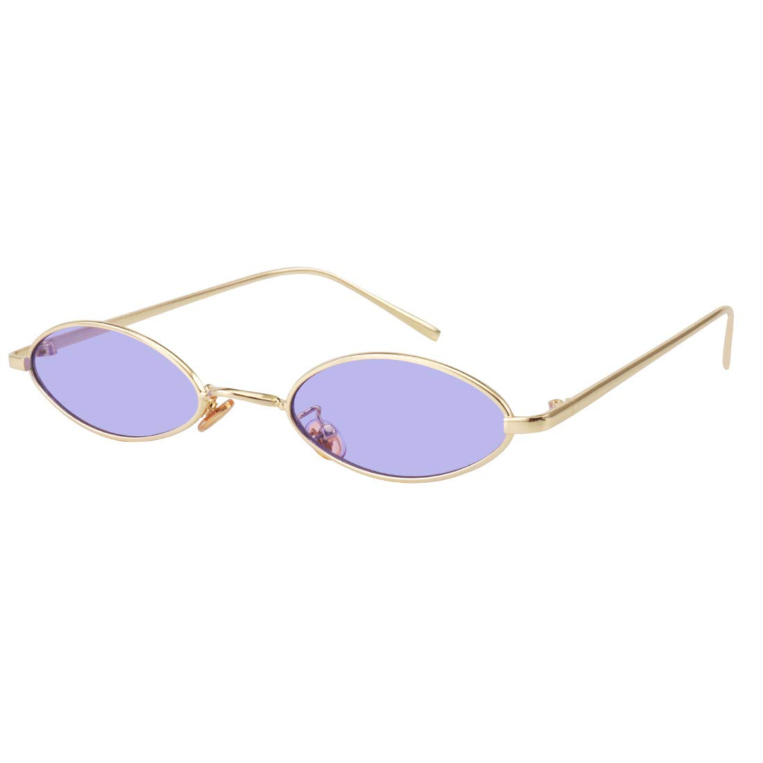 aac2d8b5433d1f Galleon - 90S Retro Vintage Oval Small Sunglasses Tiny Slender Metal Frame  Glasses For Women Men Style Shades (Gold-Purple)