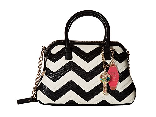 Betsey Johnson Women's Suite Life Dome Satchel Black/White One Size ()
