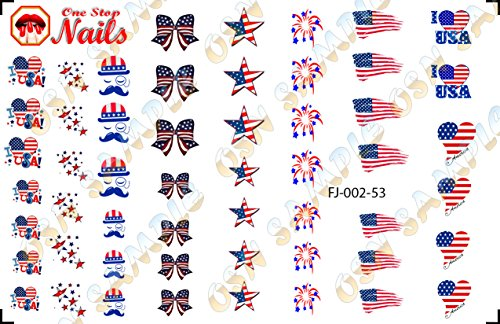 I love America Waterslide Nail Decals by One Stop Nails V2A.