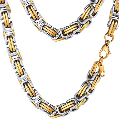 PROSTEEL 8MM Stainless Steel Chunky Necklace Men Jewelry Vintage Byzantine Chain Link Gold Silver Tone,20 - Vintage Chunky Necklace