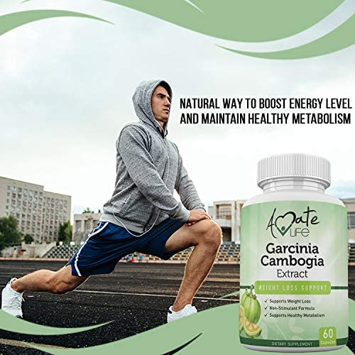 Garcinia Cambogia Extract HCA Hunger Suppressant for Women and Men -100% Satisfaction Guaranteed -Promotes Energy Levels Metabolism Booster, 60 Capsules Made in USA by Amate Life 6