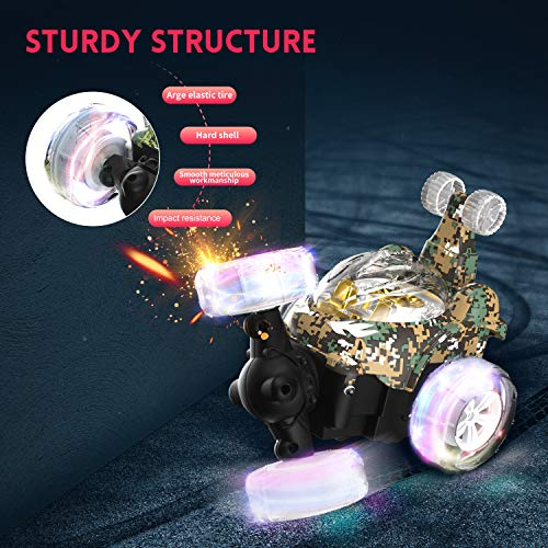 Remote Control Car, UTTORA Kids RC Stunt Car with 360 ° Rolling Dancing Performance Colorful Lights and Dynamic Music Rechargeable RC Car Toy for Kids